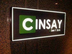 Cinsay Standing Sign lit