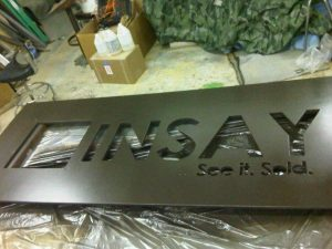Cinsay Standing sign faceplate painted