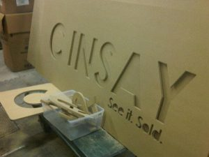 Cinsay Standing sign preparing the branding