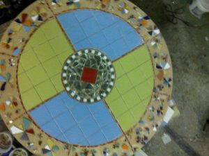 Mosaic table is ready for grout, arial view