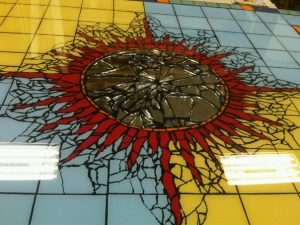 tile table starburst with mirror center